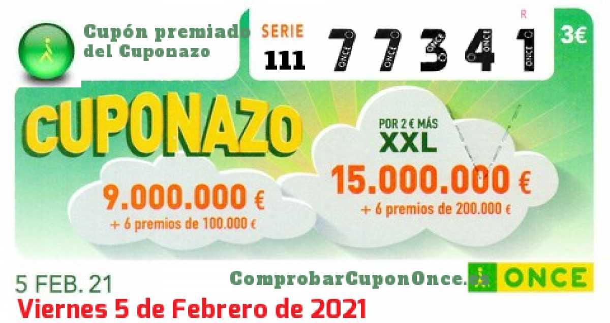 Cuponazo ONCE premiado el Viernes 5/2/2021
