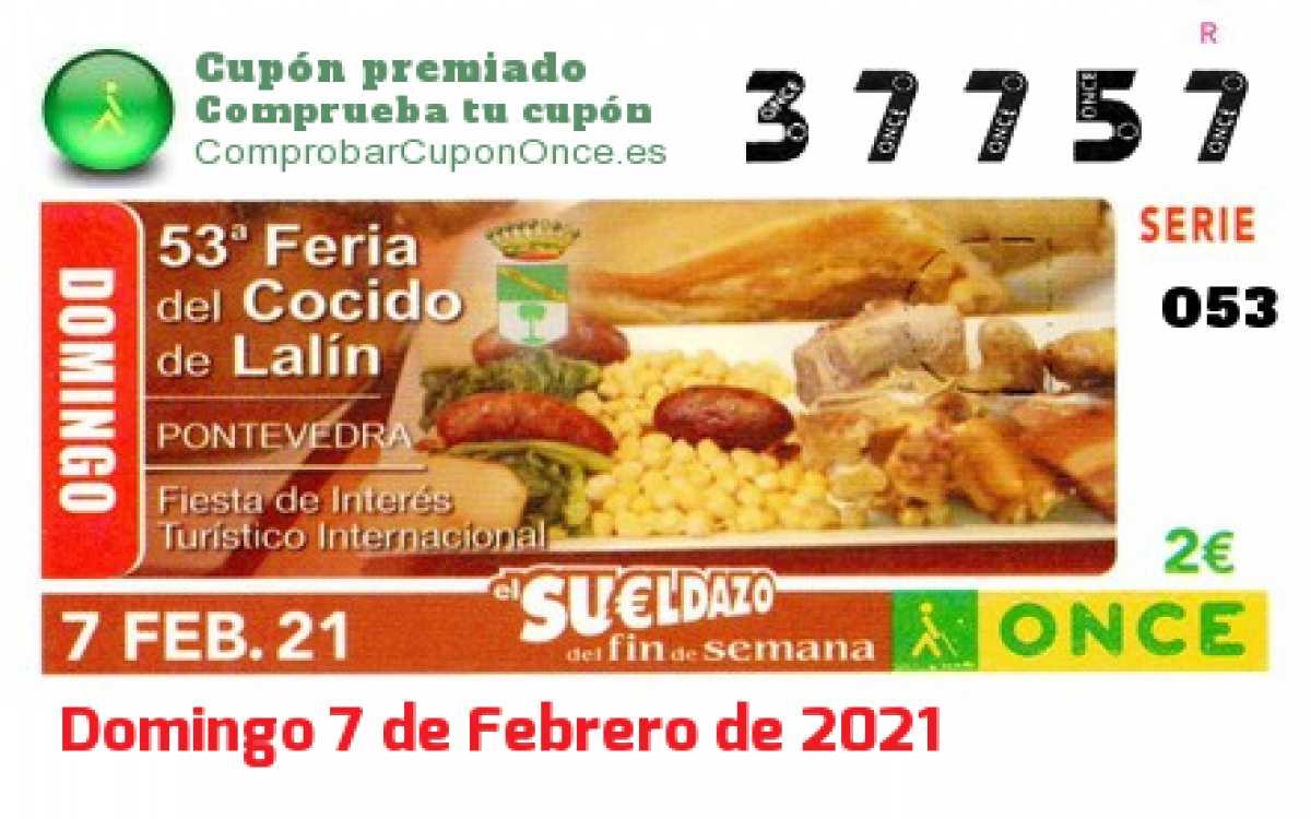 Sueldazo ONCE premiado el Domingo 7/2/2021