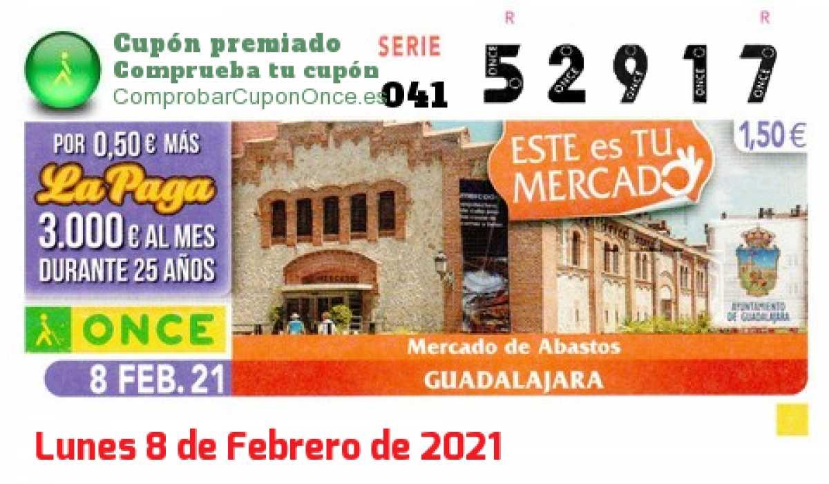Cupón ONCE premiado el Lunes 8/2/2021