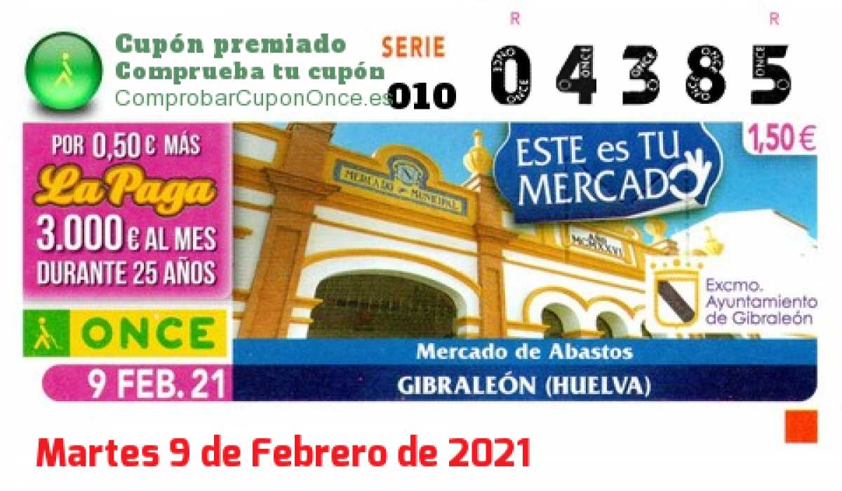 Cupón ONCE premiado el Martes 9/2/2021