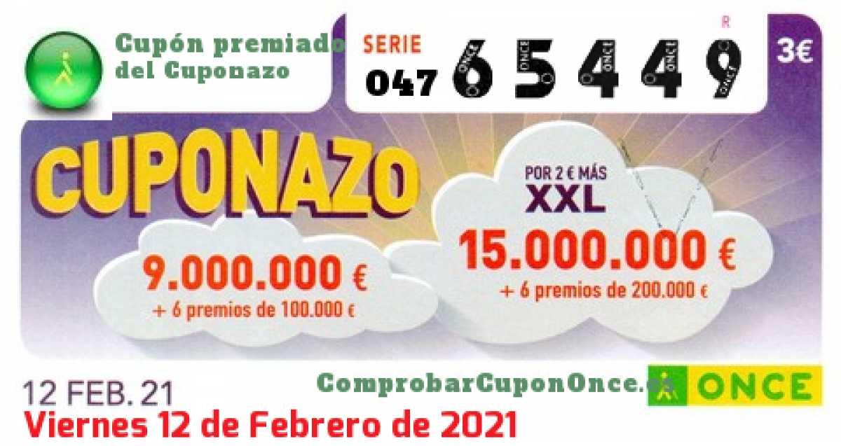 Cuponazo ONCE premiado el Viernes 12/2/2021