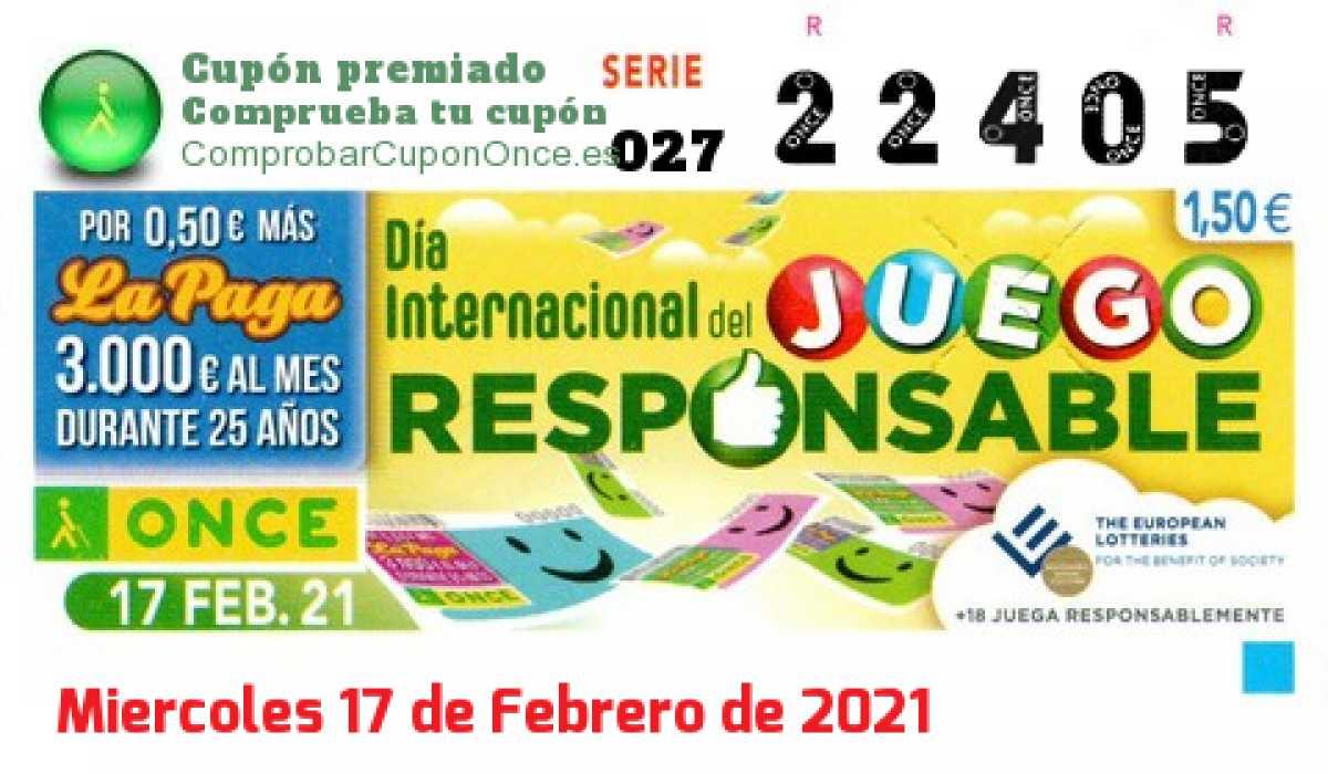 Cupón ONCE premiado el Miercoles 17/2/2021