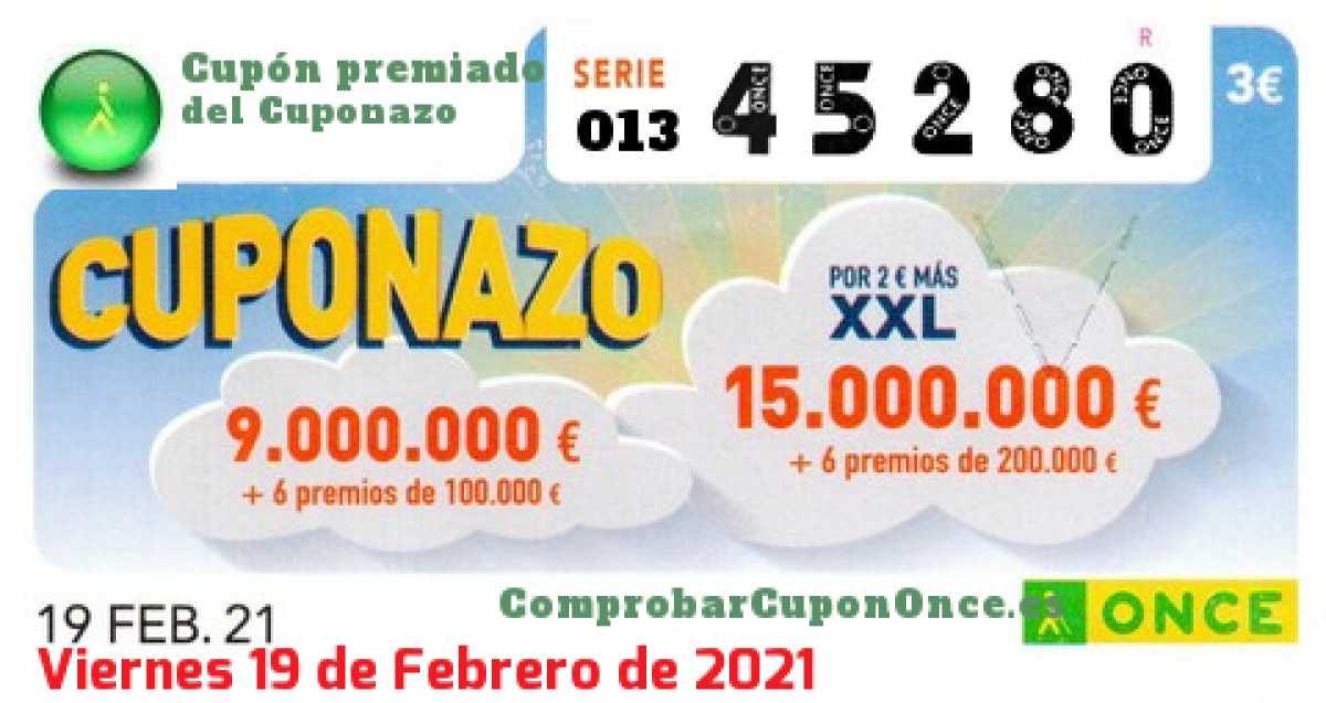 Cuponazo ONCE premiado el Viernes 19/2/2021
