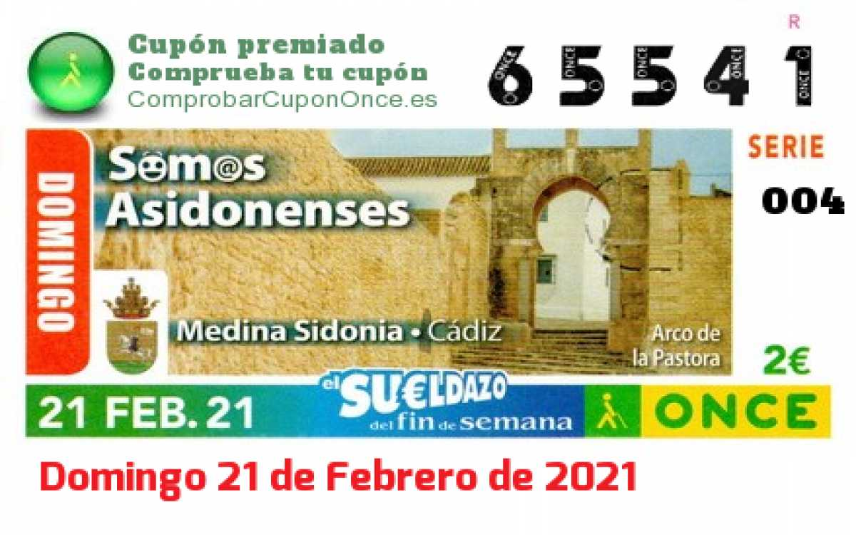 Sueldazo ONCE premiado el Domingo 21/2/2021