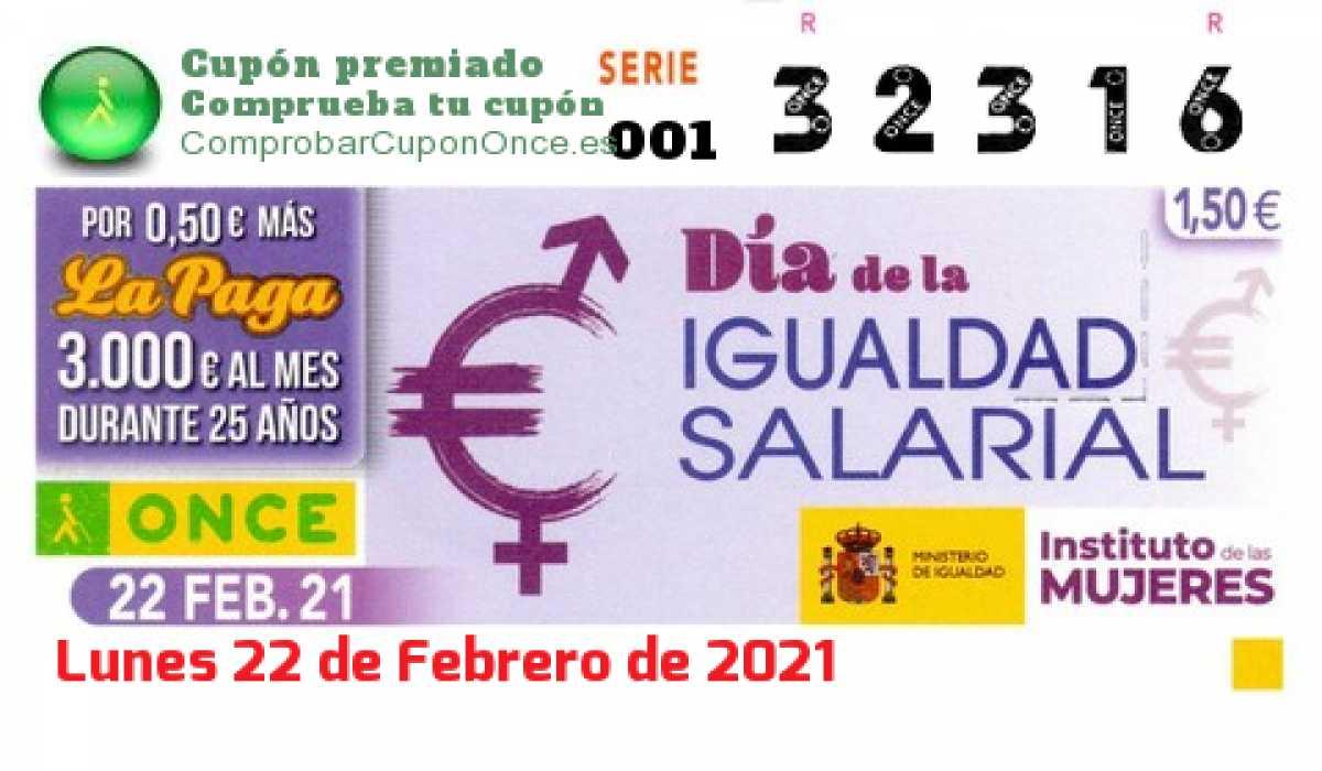 Cupón ONCE premiado el Lunes 22/2/2021