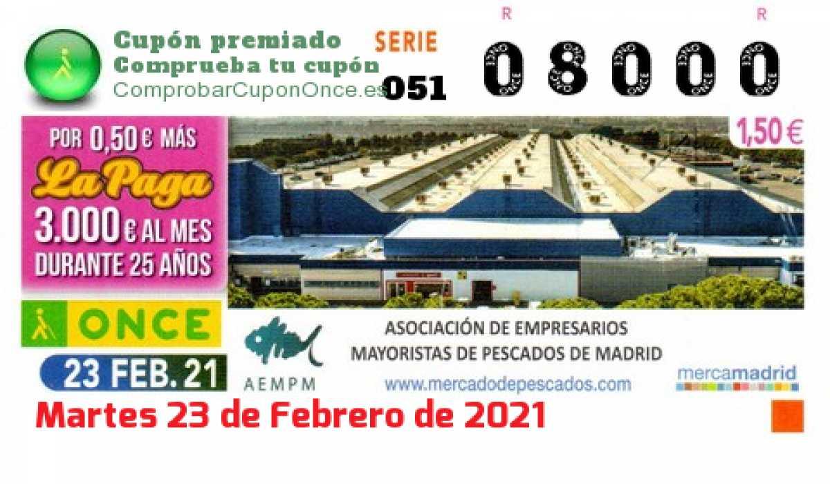 Cupón ONCE premiado el Martes 23/2/2021