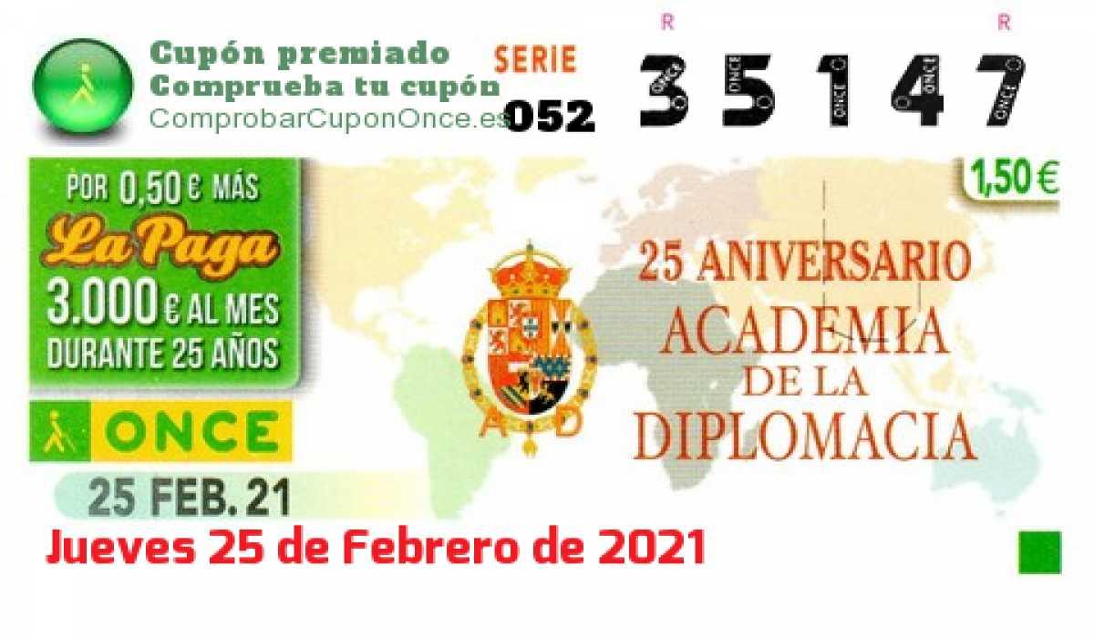 Cupón ONCE premiado el Jueves 25/2/2021