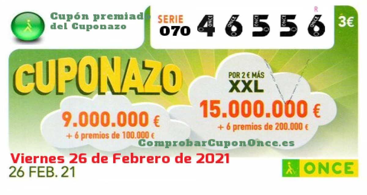 Cuponazo ONCE premiado el Viernes 26/2/2021