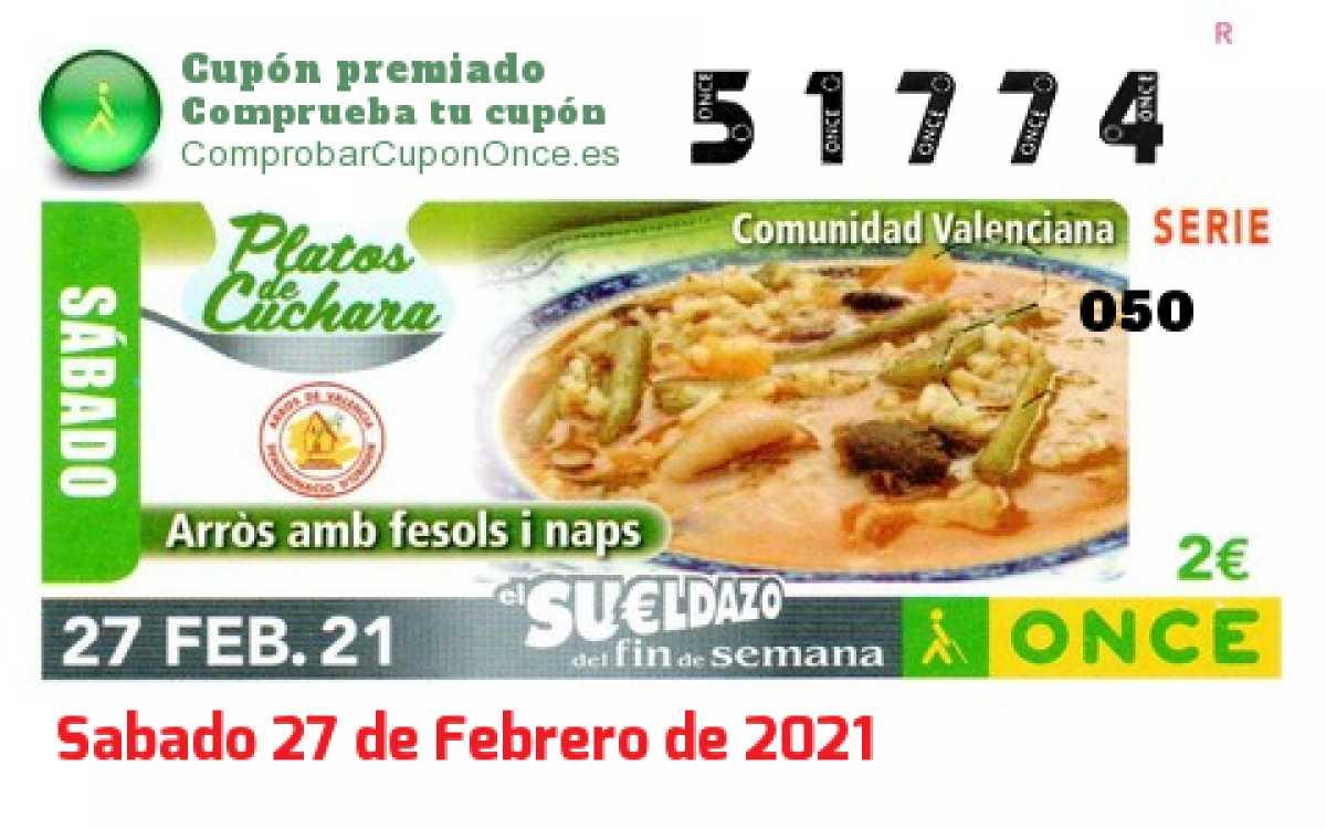 Sueldazo ONCE premiado el Sabado 27/2/2021