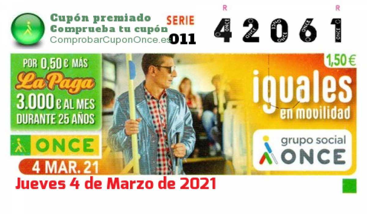 Cupón ONCE premiado el Jueves 4/3/2021