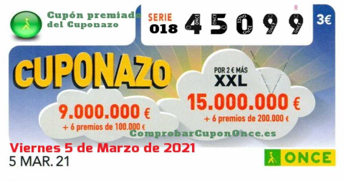 Cuponazo ONCE premiado el Viernes 5/3/2021