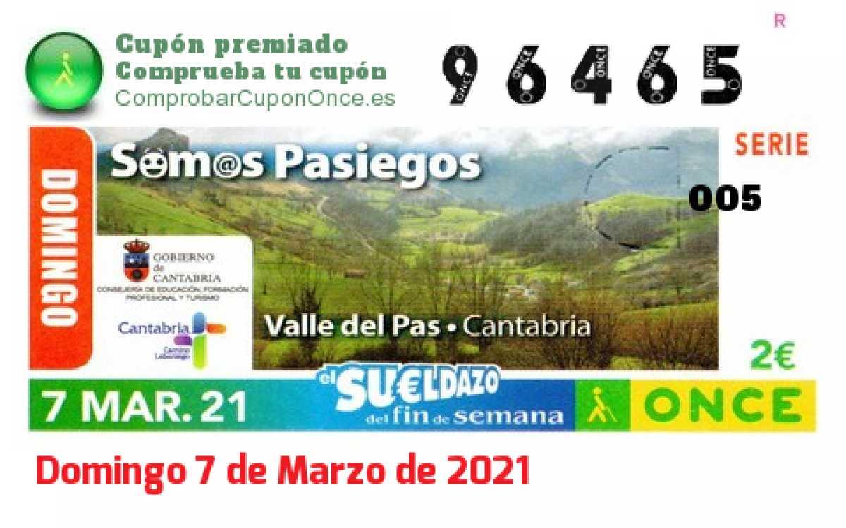 Sueldazo ONCE premiado el Domingo 7/3/2021