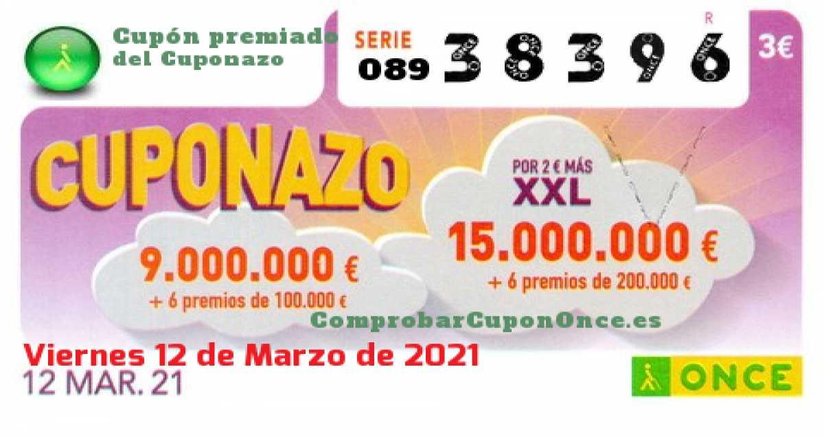 Cuponazo ONCE premiado el Viernes 12/3/2021
