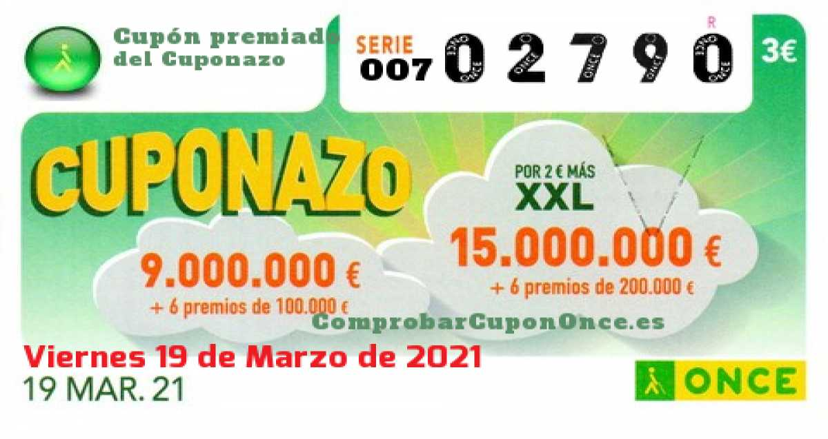 Cuponazo ONCE premiado el Viernes 19/3/2021