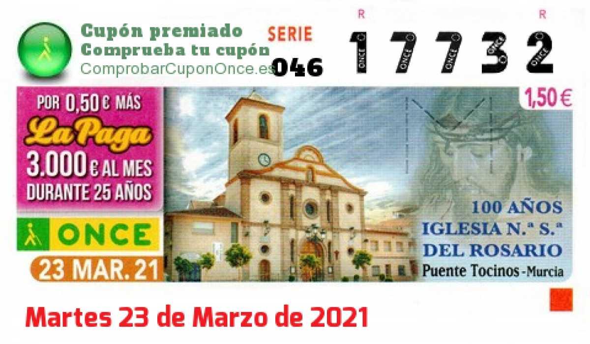 Cupón ONCE premiado el Martes 23/3/2021