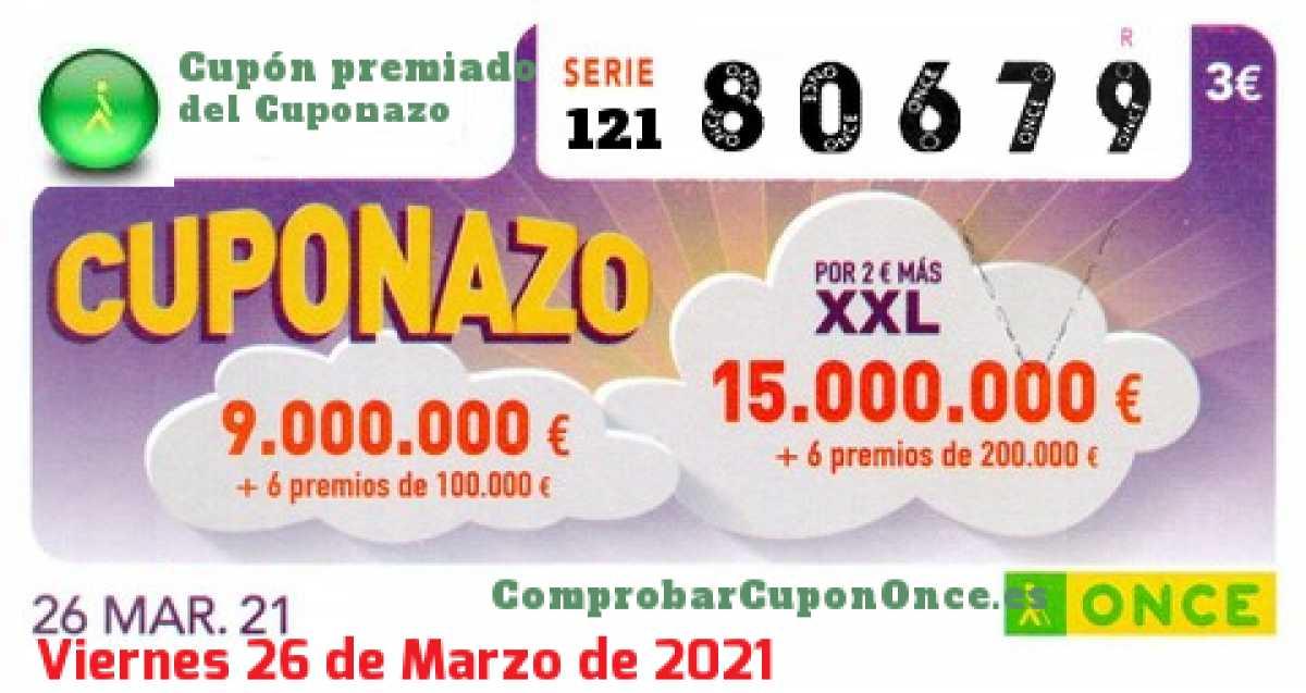 Cuponazo ONCE premiado el Viernes 26/3/2021