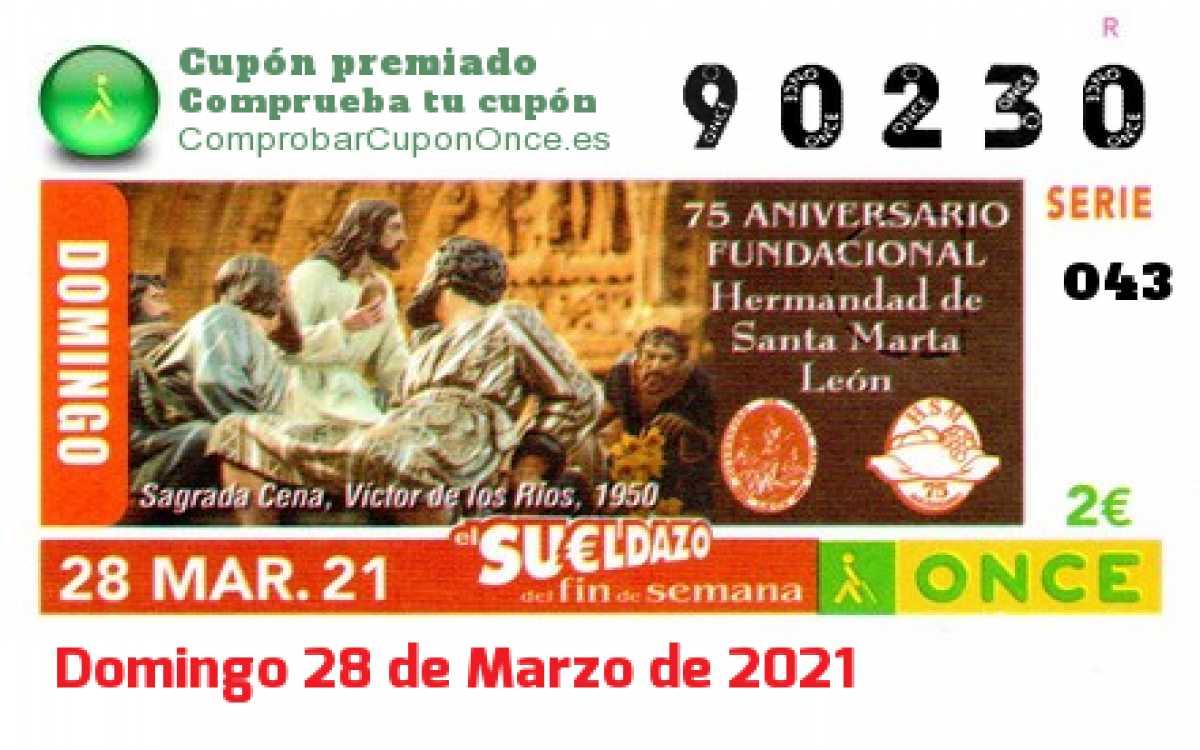 Sueldazo ONCE premiado el Domingo 28/3/2021