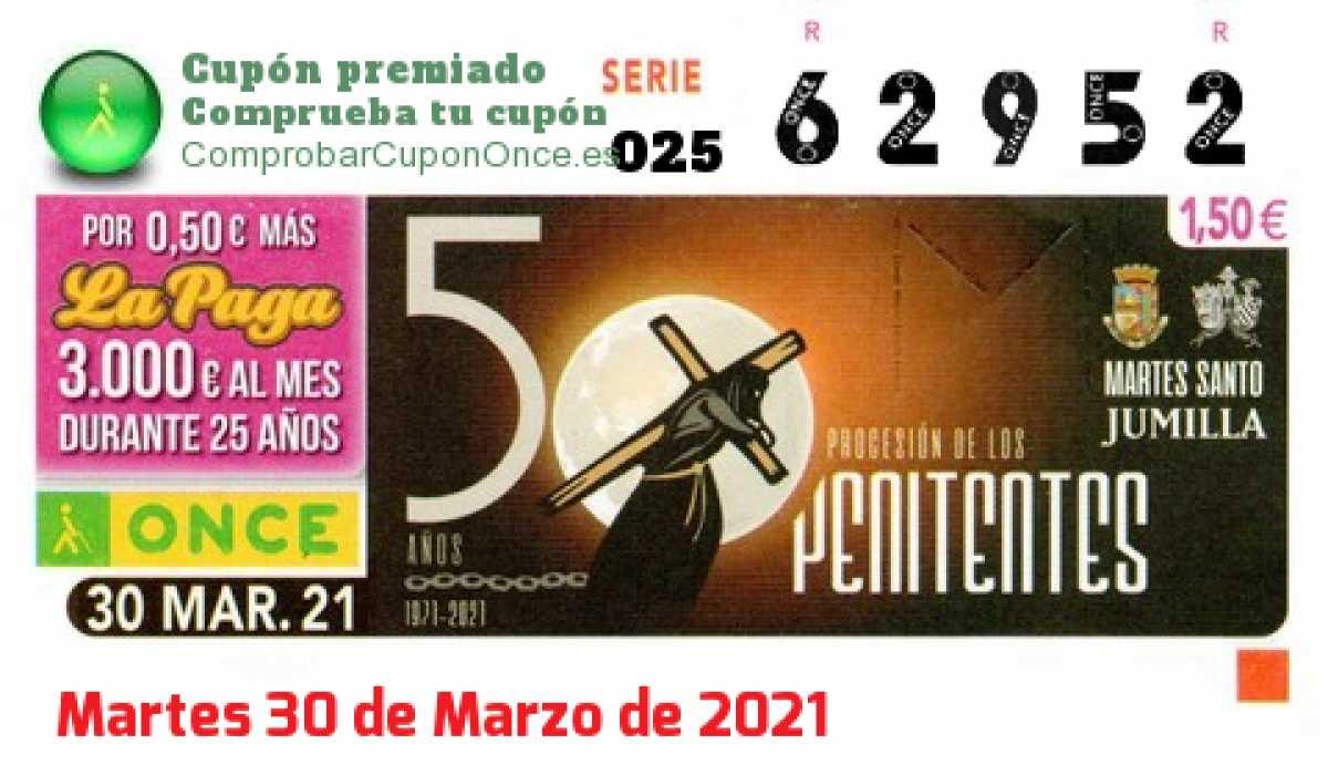Cupón ONCE premiado el Martes 30/3/2021