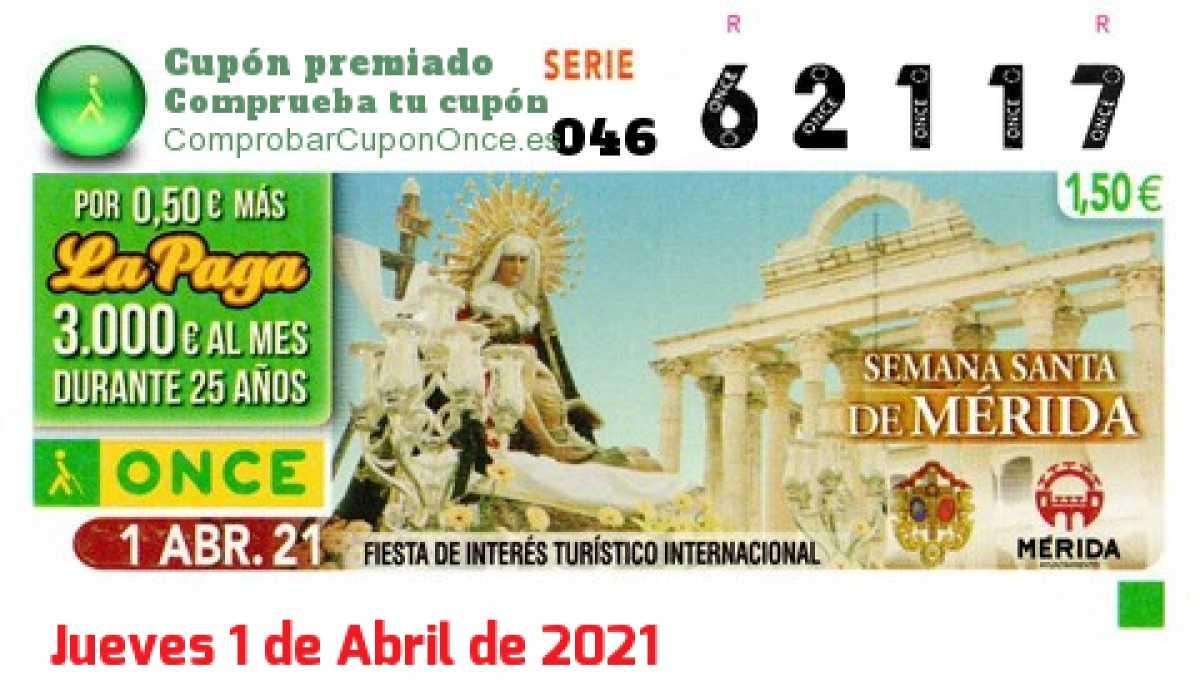 Cupón ONCE premiado el Jueves 1/4/2021