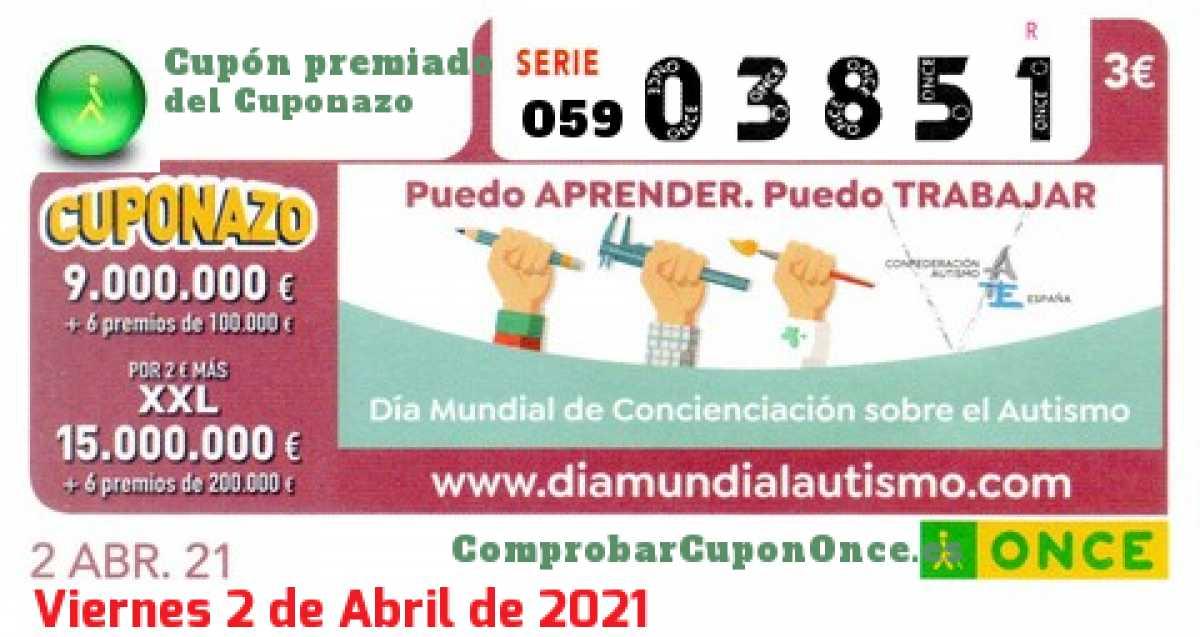 Cuponazo ONCE premiado el Viernes 2/4/2021