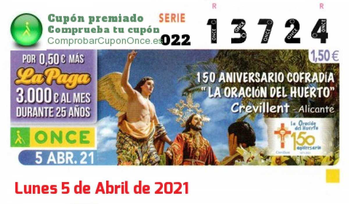 Cupón ONCE premiado el Lunes 5/4/2021