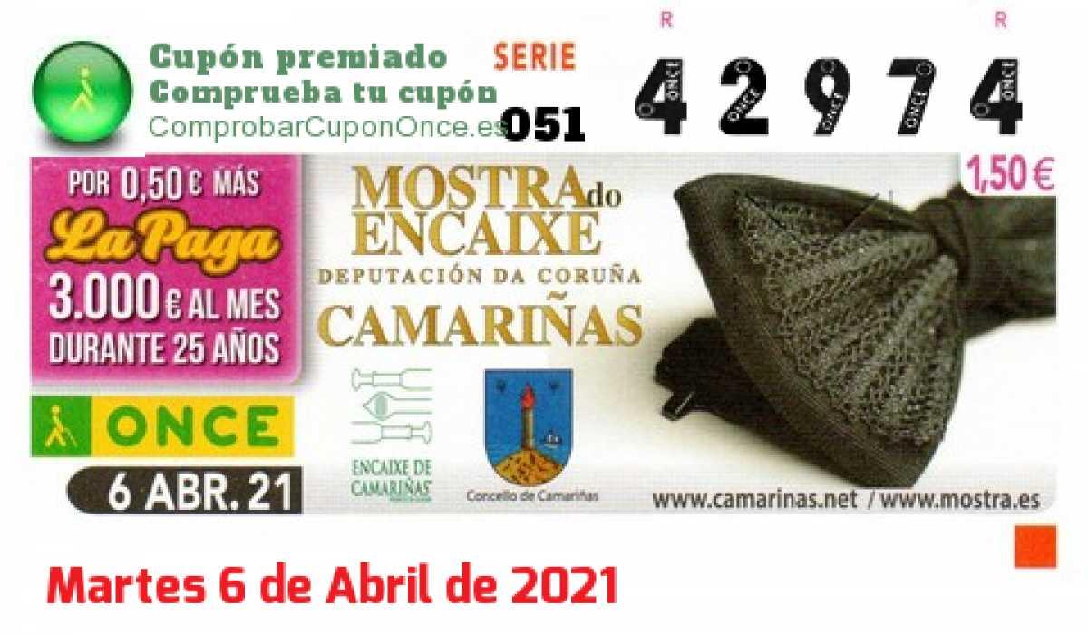 Cupón ONCE premiado el Martes 6/4/2021