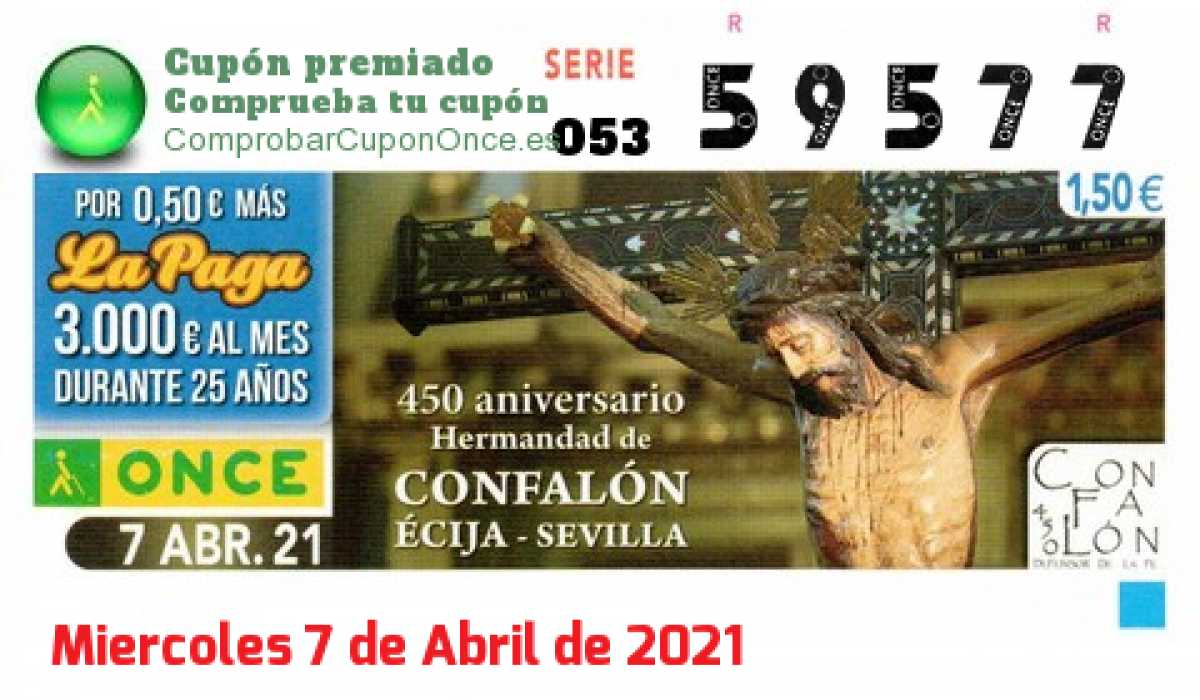 Cupón ONCE premiado el Miercoles 7/4/2021