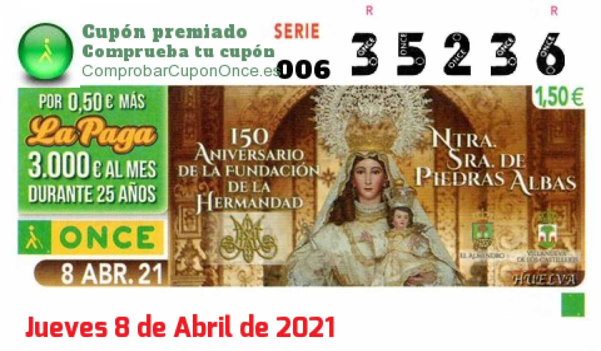 Cupón ONCE premiado el Jueves 8/4/2021