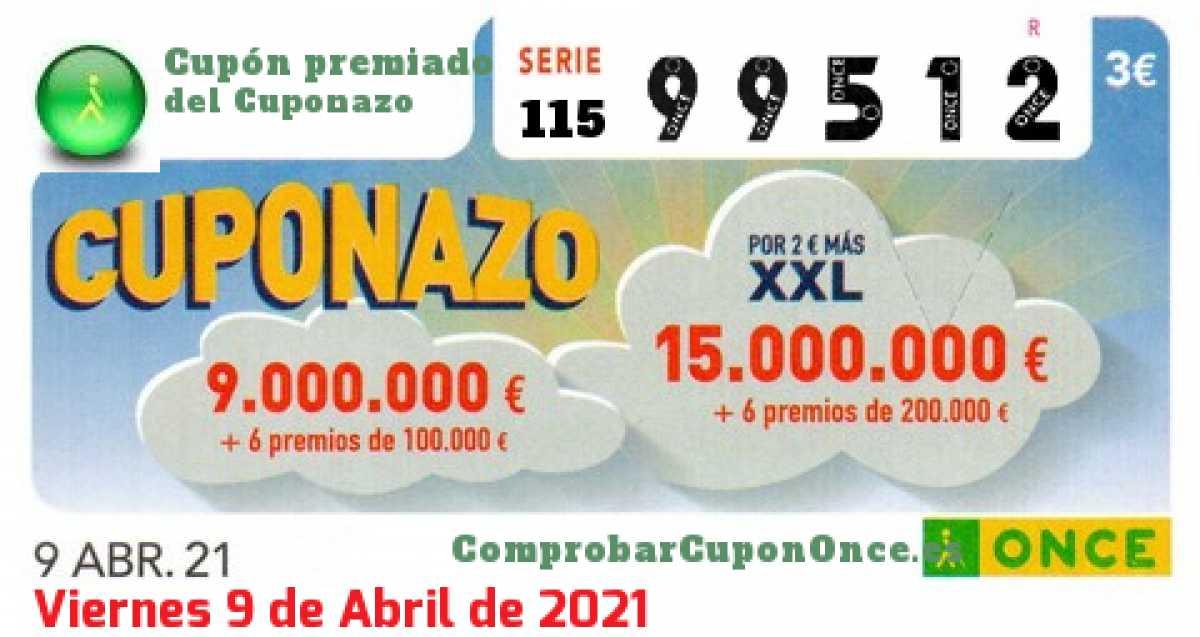 Cuponazo ONCE premiado el Viernes 9/4/2021