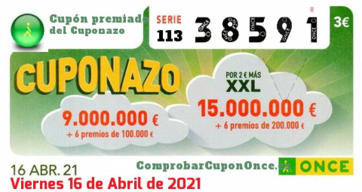Cuponazo ONCE premiado el Viernes 16/4/2021