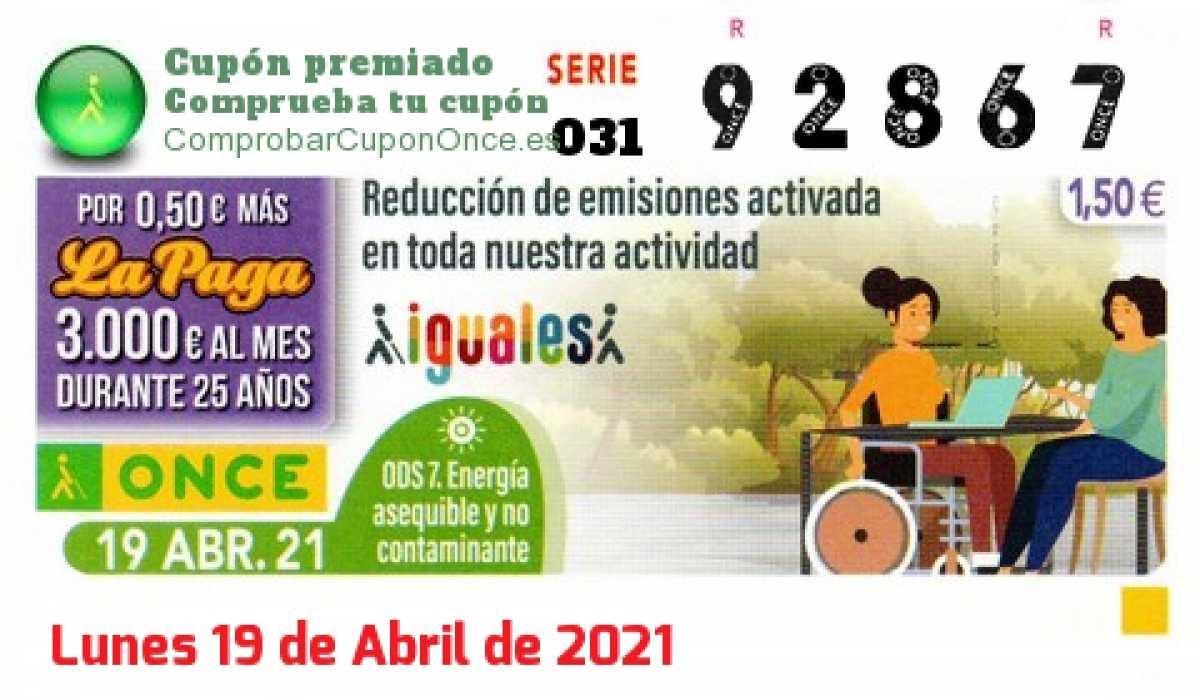 Cupón ONCE premiado el Lunes 19/4/2021