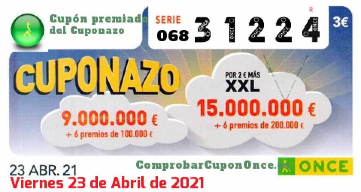 Cuponazo ONCE premiado el Viernes 23/4/2021