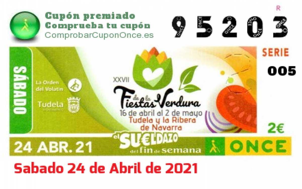 Sueldazo ONCE premiado el Sabado 24/4/2021