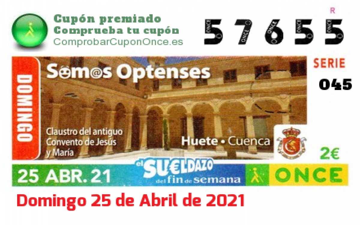 Sueldazo ONCE premiado el Domingo 25/4/2021