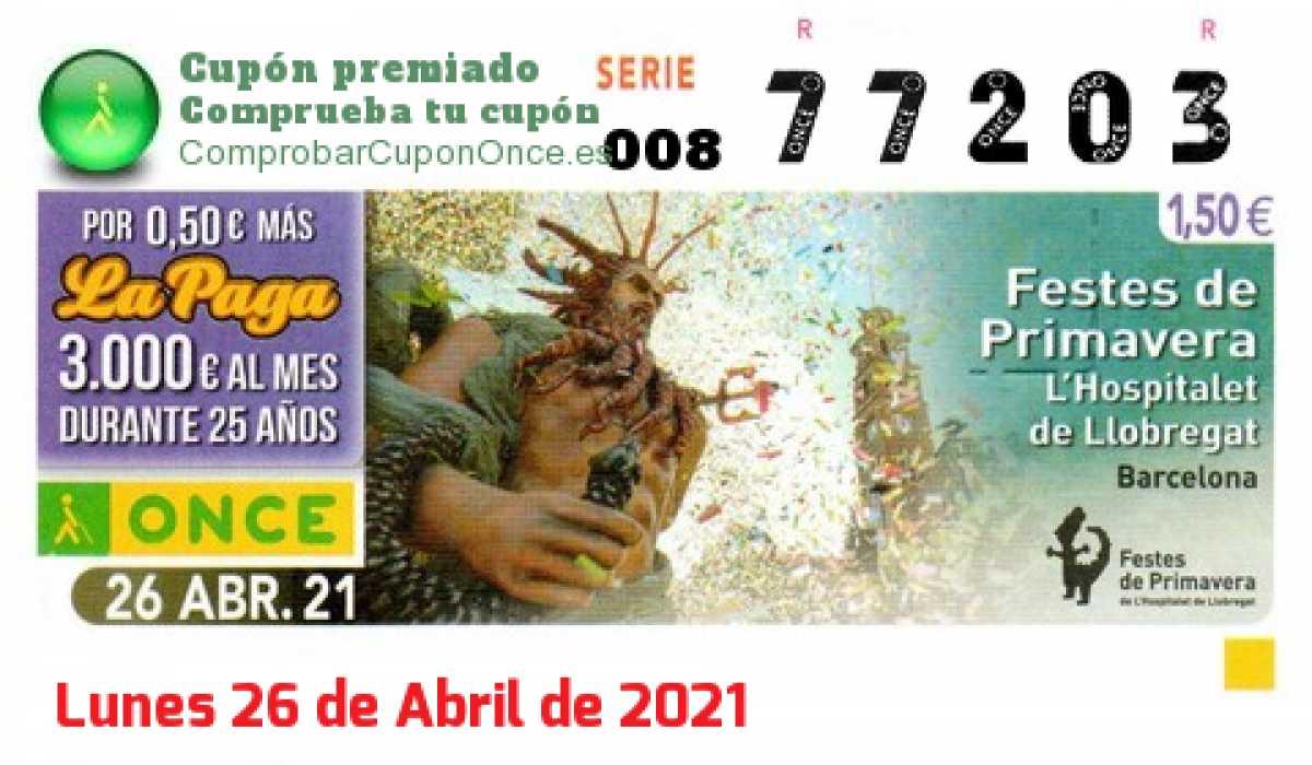 Cupón ONCE premiado el Lunes 26/4/2021