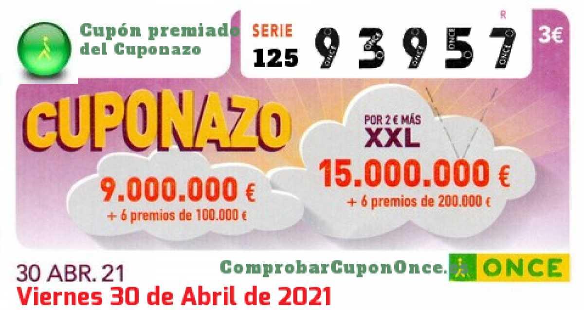 Cuponazo ONCE premiado el Viernes 30/4/2021