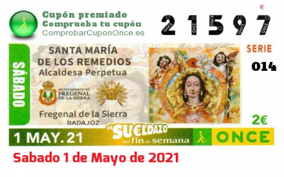 Sueldazo ONCE premiado el Sabado 1/5/2021