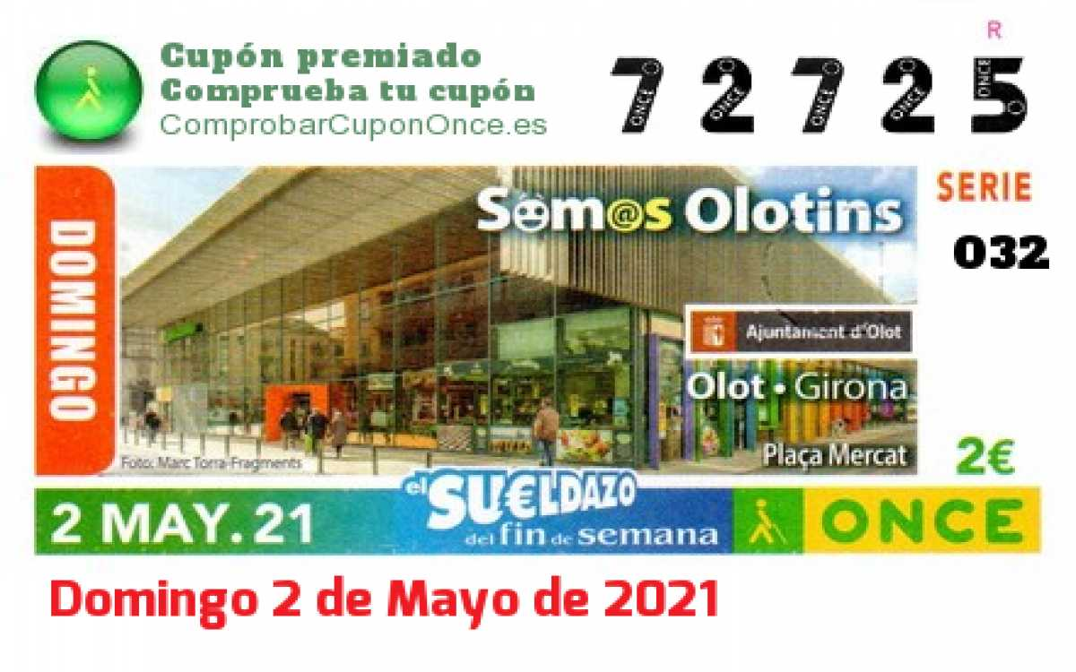 Sueldazo ONCE premiado el Domingo 2/5/2021