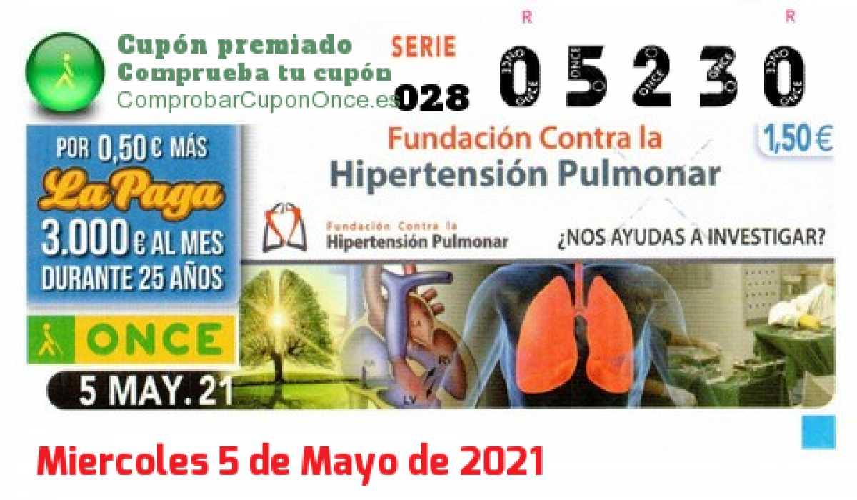 Cupón ONCE premiado el Miercoles 5/5/2021