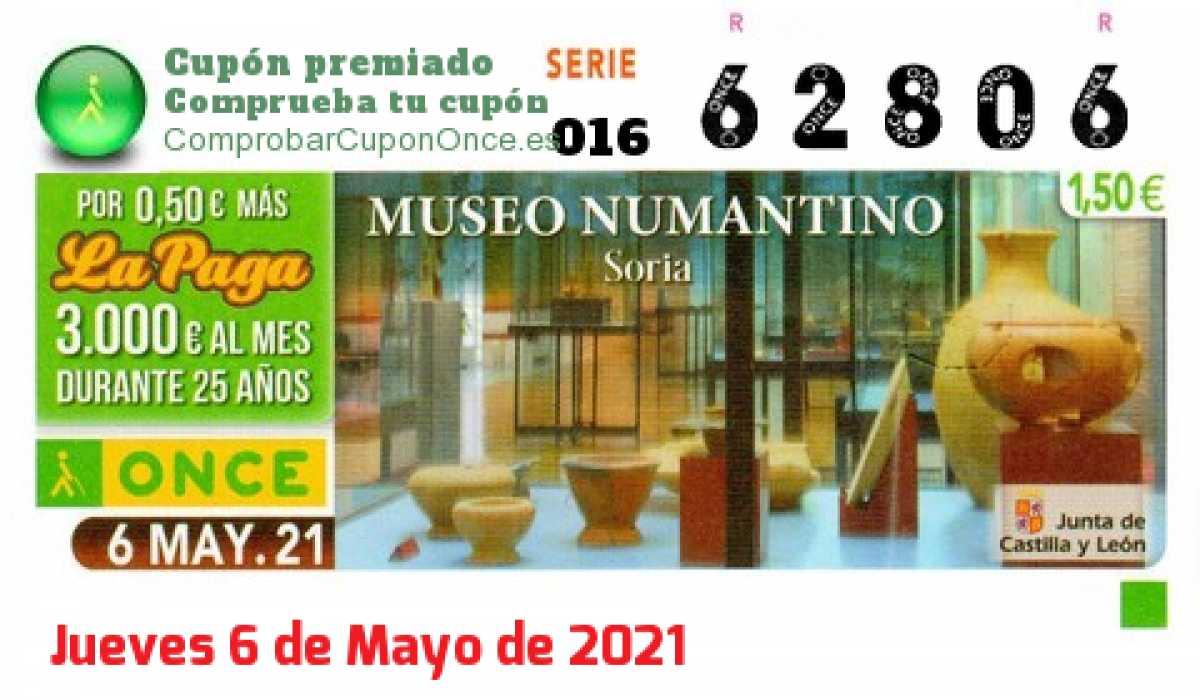 Cupón ONCE premiado el Jueves 6/5/2021