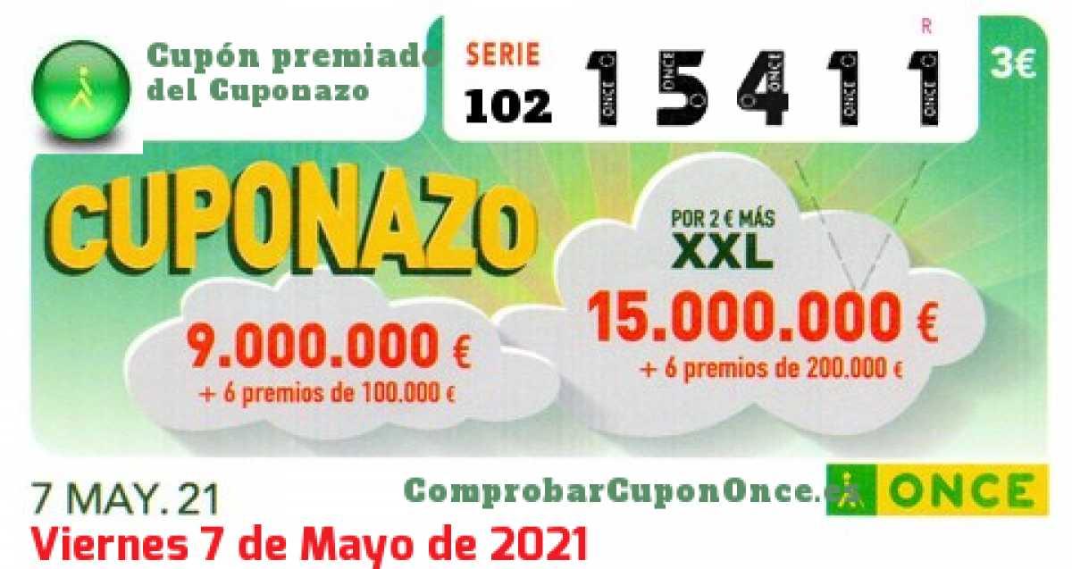 Cuponazo ONCE premiado el Viernes 7/5/2021