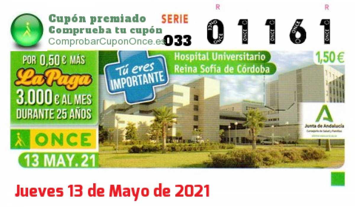 Cupón ONCE premiado el Jueves 13/5/2021