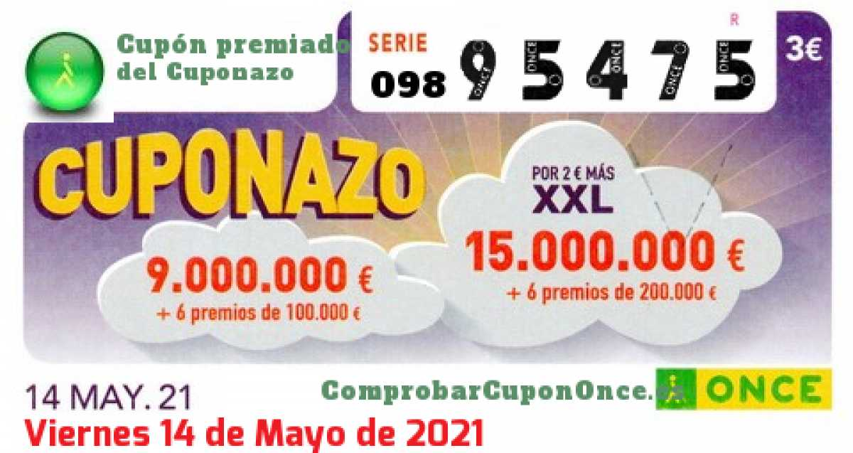 Cuponazo ONCE premiado el Viernes 14/5/2021