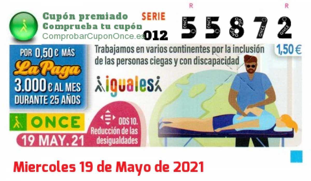 Cupón ONCE premiado el Miercoles 19/5/2021