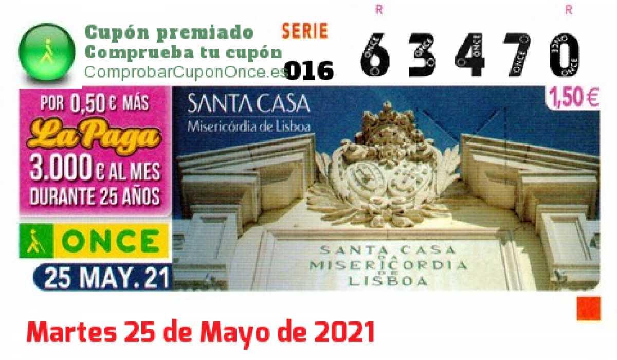 Cupón ONCE premiado el Martes 25/5/2021