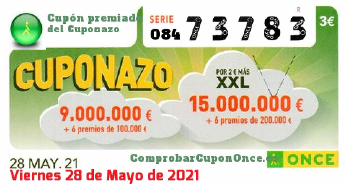 Cuponazo ONCE premiado el Viernes 28/5/2021