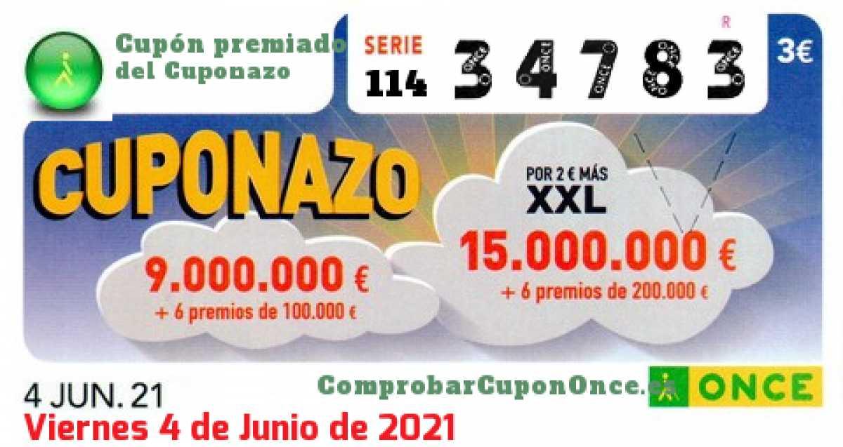 Cuponazo ONCE premiado el Viernes 4/6/2021