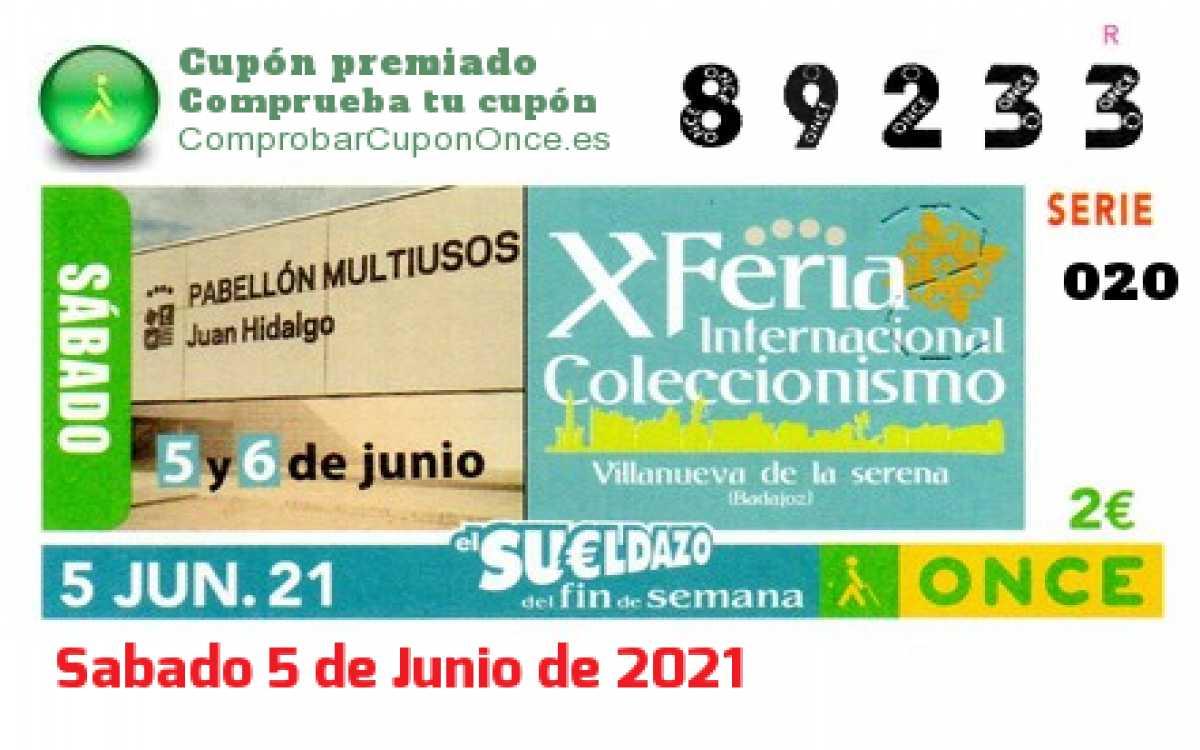 Sueldazo ONCE premiado el Sabado 5/6/2021