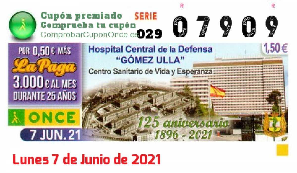 Cupón ONCE premiado el Lunes 7/6/2021
