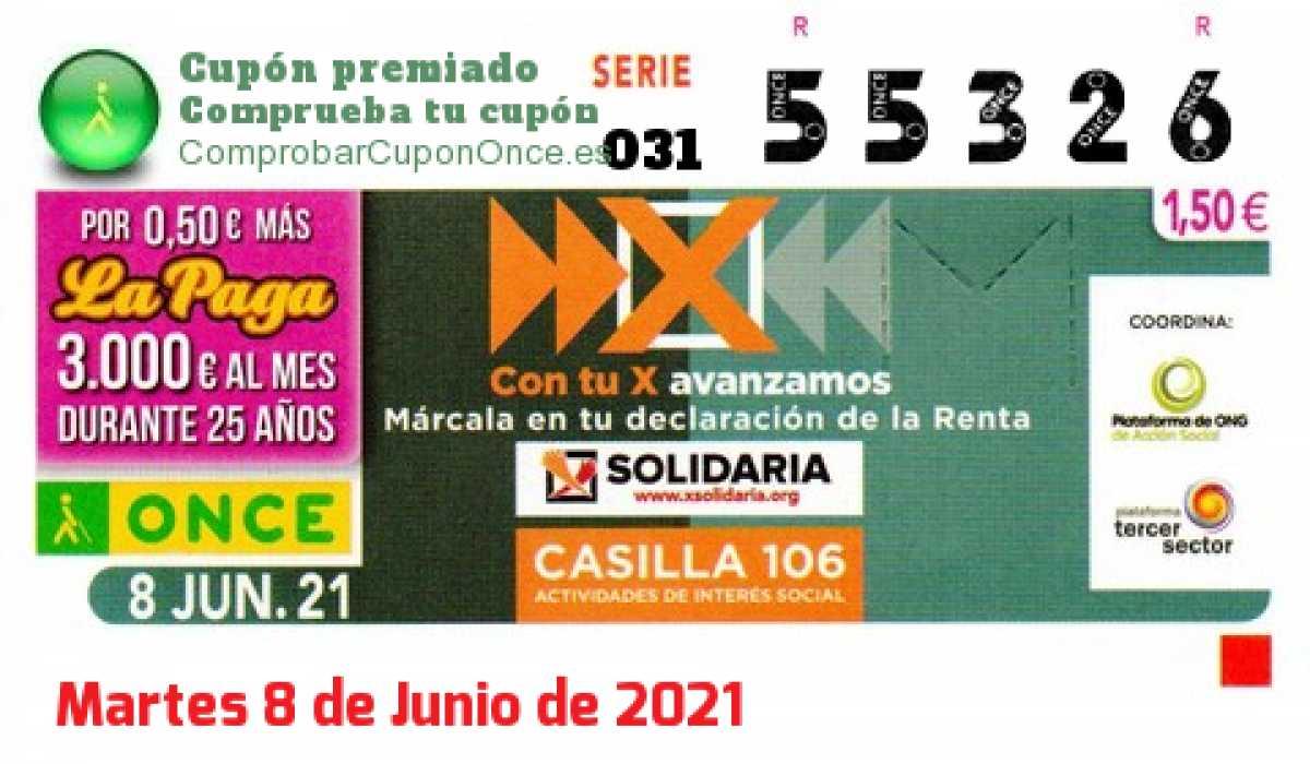 Cupón ONCE premiado el Martes 8/6/2021